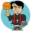 Priest loves basketball — Stock Vector