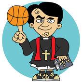 Priest loves basketball — Stock Vector