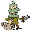 Robber with mask and gun — Stock Vector