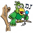 Parrot sings a song — Stock Vector