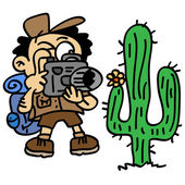 Explorer taking a photo of a cactus — Stock Vector