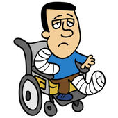 Injured man on wheelchair — Stock Vector