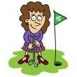 Woman playing golf — Stock Vector