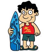 Kid prepared to surf — Stock vektor