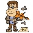 Stock Vector: Beggar playing violin