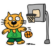 Cat playing basketball — Vector de stock