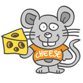 Mouse holding cheese — Stock Vector