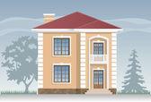 Residential house facade — Stock Vector