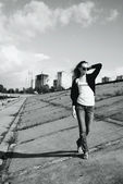 Urban girl in city environment — Stock Photo