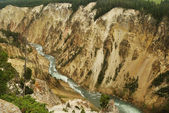 View from above on river canyon in yellowstone national park, wyoming, usa — Stock Photo