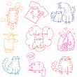 Cats doodle set funny cartoon — Stockvectorbeeld
