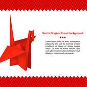 červený papír jeřáb origami pták — Stock vektor