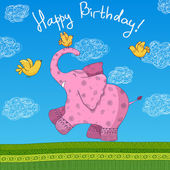 Happy Birthday cartoon greeting postcars — Vector de stock