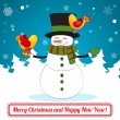 Postcard funny snowman with a bird — Stock Vector