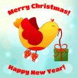 Illustration for Christmas and New Year with fun birds — Stock vektor