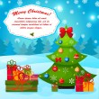 Christmas greeting or gift card with Xmas tree. EPS 10. — Cтоковый вектор