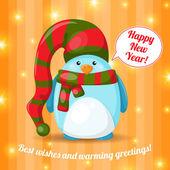 Christmas card with cute cartoon penguin — Vecteur