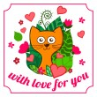 Valentine Day funny cartoon kitten with pink hearts and flowers — Vecteur