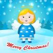 Cute Christmas card in vector. Bright holiday background with small funny angel in New Year toys in cartoon style — Stock Vector #36044511