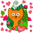 Valentine Day funny cartoon kitten with pink hearts and flowers — Stock Vector