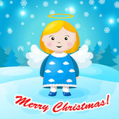 Cute Christmas card in vector. Bright holiday background with small funny angel in New Year toys in cartoon style — Stock Vector