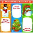 Greeting Christmas and New Year baners set — Stockvectorbeeld