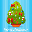 Vector illustration of decorated Christmas tree — Stock Vector