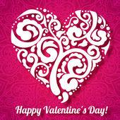 Día de san valentín tarjeta de felicitación de corazón encaje sobre fondo adornado del doodle del vector — Vector de stock