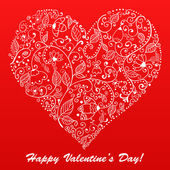 Vector Valentine's day lacy heart greeting card on doodle ornate background — Stock Vector