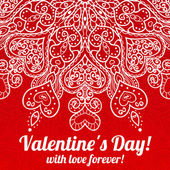 Vector Valentine's day lacy greeting ornate background — Vetorial Stock