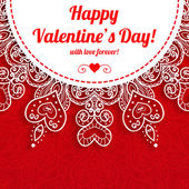 Vector Valentine's day lacy greeting ornate background — Stock Vector