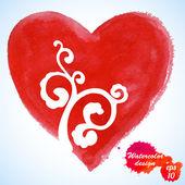 Acquerello cuore isolato su bianco background.holiday valentino card.hand pittura - vettoriale — Vector de stock