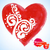 Watercolor heart isolated on white background.Holiday Valentines day card.Hand painting - vector — Stock Vector