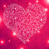 Vector Valentine's day lacy heart greeting card ornate background — Stock Vector