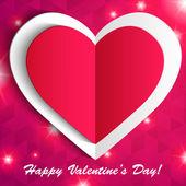 Dia rendado cartão do coração papel de vector valentine — Vetorial Stock