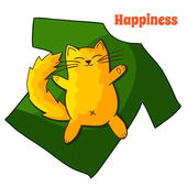 Happy funny Lazy Cartoon Cat — Stock Photo