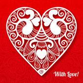 Dia rendado cartão do coração papel de vector valentine — Vetor de Stock