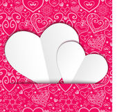 Vector Valentine's day lacy paper heart greeting card — Vetor de Stock
