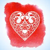 Aftelkalender voor Valentijnsdag lacy papier hart wenskaart vector — Stockvector