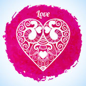 Vector Valentine's day lacy paper heart greeting card — Stockvector
