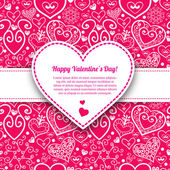 Vektör Sevgililer günü dantelli kağıt kalp tebrik kartı — Stok Vektör