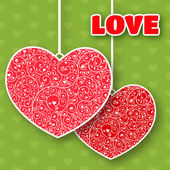 Vector Valentine's day lacy paper heart greeting card — Stock Vector