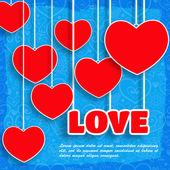 Fond de cœurs de vecteur papier rouge. carte de Saint Valentin — Vecteur