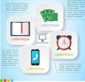 Vector papel abstracto infografía fondo — Vector de stock