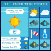 Flat weather Icons Set for Web and Mobile Applications — Stockvector