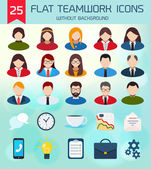 Flat Business Teamwork Icons Set. — Wektor stockowy