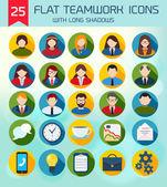 Flat Business Teamwork Icons Set. — 图库矢量图片