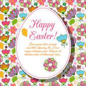 Arka plan çiçekler paskalya yortusu yumurta. — Stok Vektör