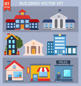 Modern  flat vector  buildings set. — Stockvektor