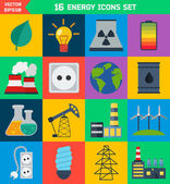 Flat ecology and energy vector icons — Vector de stock
